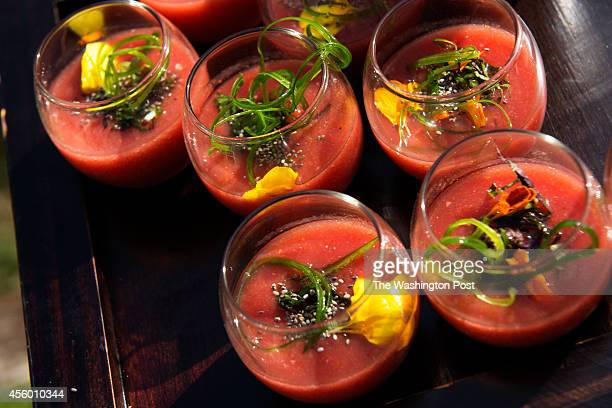 Fresh gazpacho is served for an evening of entertainment at the home of Greta De Keyser and Bart Vandaele's home in Alexandria Virginia on September...