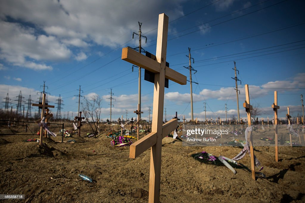Fresh graves, many of which have been created due to the ongoing conflict between Ukraine and pro-Russian rebels, sit on a hillside on March 6, 2015 in Donetsk, Ukraine. The conflict, which started last April, has claimed at least 6,000 lives, according to the United Nations.