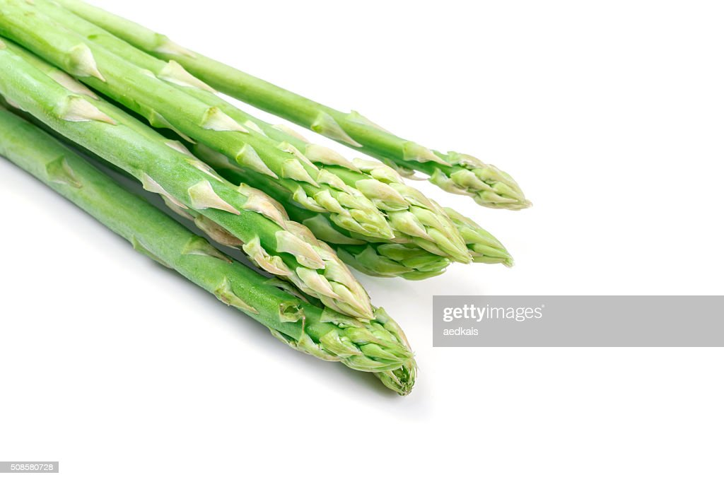 Fresh green asparagus on white : Bildbanksbilder