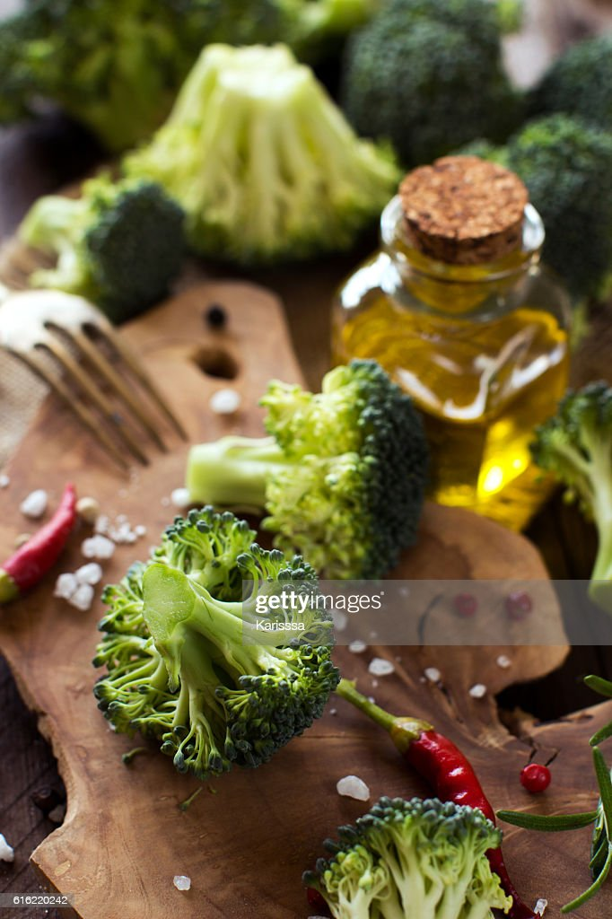 Fresh green broccoli and vegetables : Stock Photo