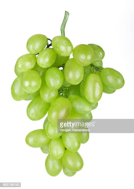 fresh green grapes isolated on white background - grape stock pictures, royalty-free photos & images