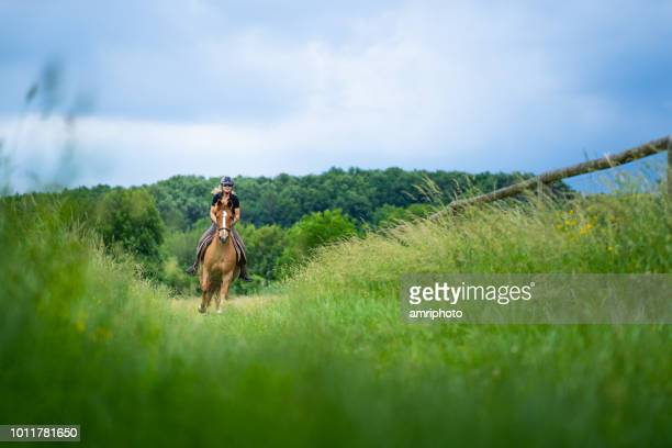 fresh green grass woman on galloping horse - paddock stock photos and pictures