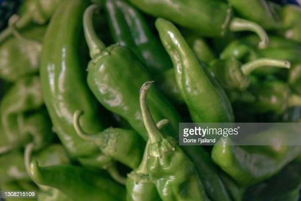 fresh green peppers from above - dorte fjalland fotografías e imágenes de stock