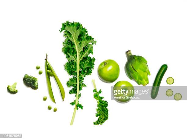 fresh green vegetables and fruits - leaf vegetable stock pictures, royalty-free photos & images