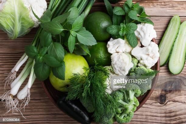 Fresh green vegetables and fruits