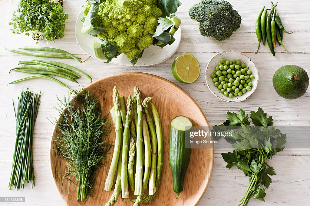 Fresh green vegetables on plate : Stock Photo
