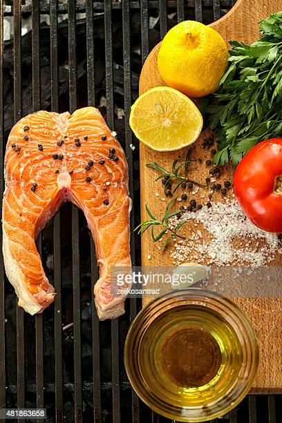 Fresh Grilled salmon steaks