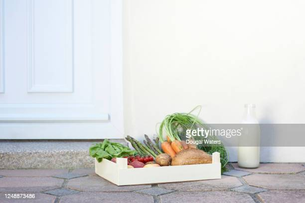 fresh groceries box and oat milk home delivery. - cultivated stock pictures, royalty-free photos & images