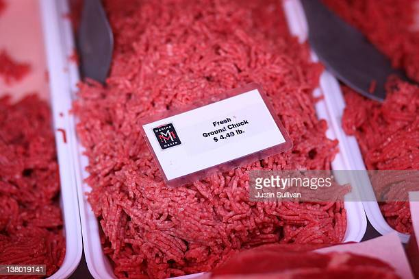Fresh ground beef is displayed at Marina Meats on January 31 2012 in San Francisco California Severe drought is a contributing factor in the...