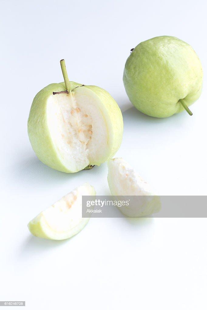 Fresh guava on white background : Stock Photo