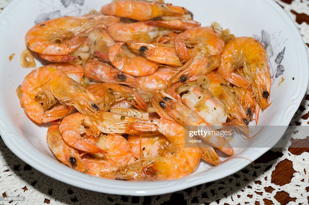 fresh gulf shrimps with garlic : Foto de stock