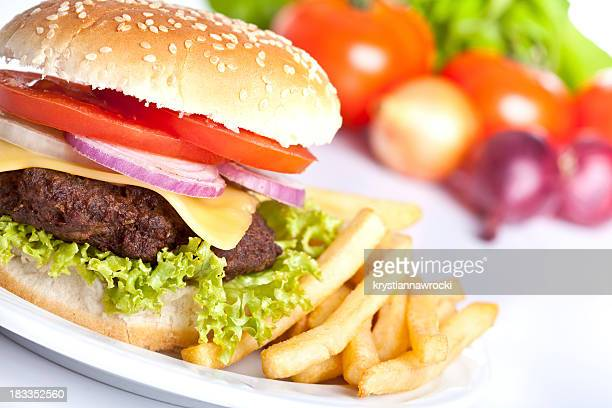 Fresh hamburger with french fries and salad