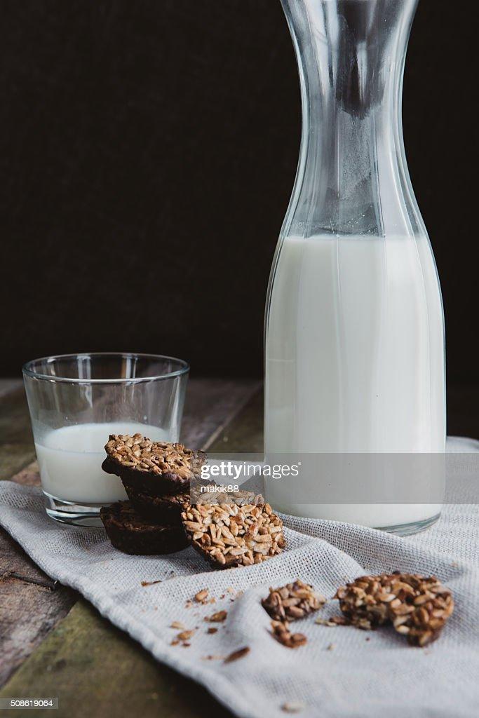 fresh healthy milk and cookies : Stock Photo