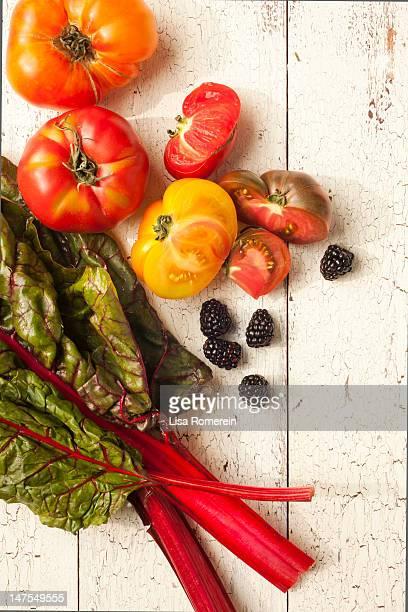 Fresh heirloom tomatoes, blackberries & red chard