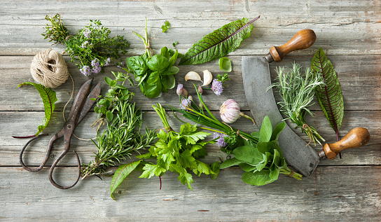 fresh herbs and spices on wooden table 587928218