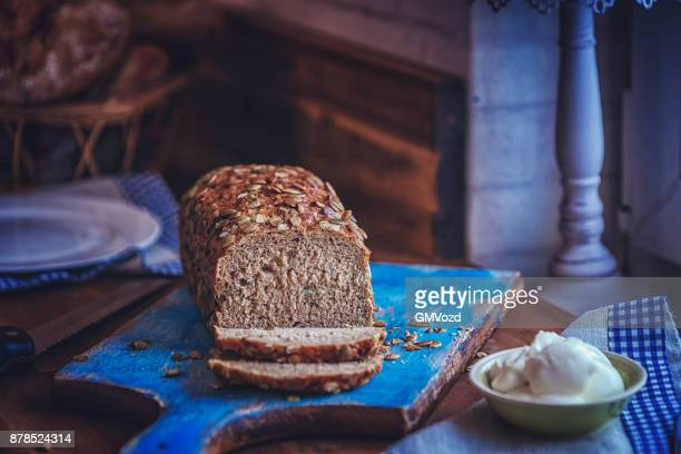 Fresh Homemade Brown Bread with Cream Cheese