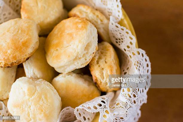 fresh homemade rolls - biscuit stock photos and pictures