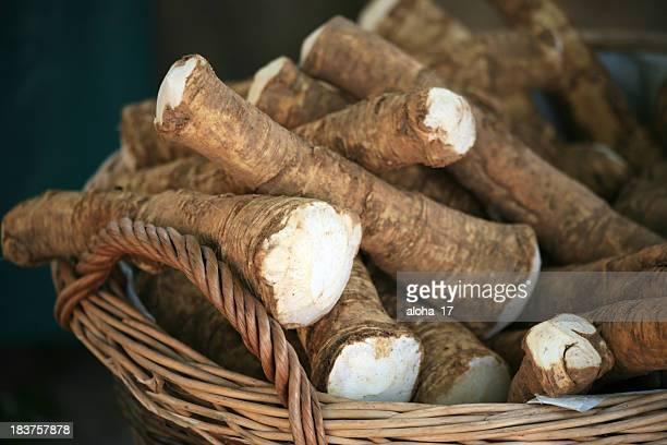 Fresh horseradish in a basket