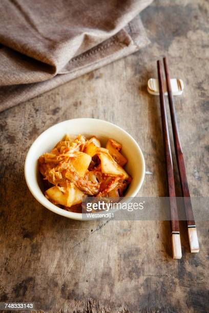 Fresh house made kimchi with chopsticks