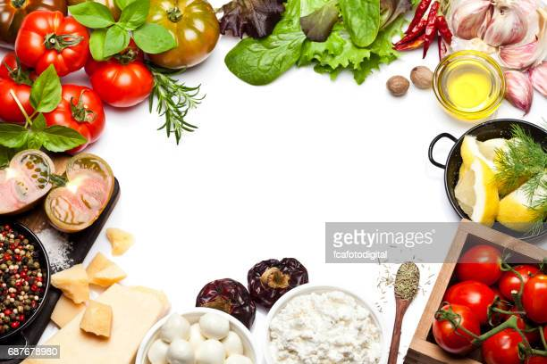 fresh ingredients for cooking and seasoning frame - freshness stock pictures, royalty-free photos & images