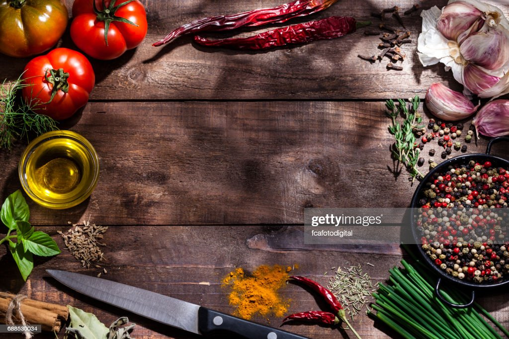 Fresh ingredients for cooking and seasoning frame : Stock Photo