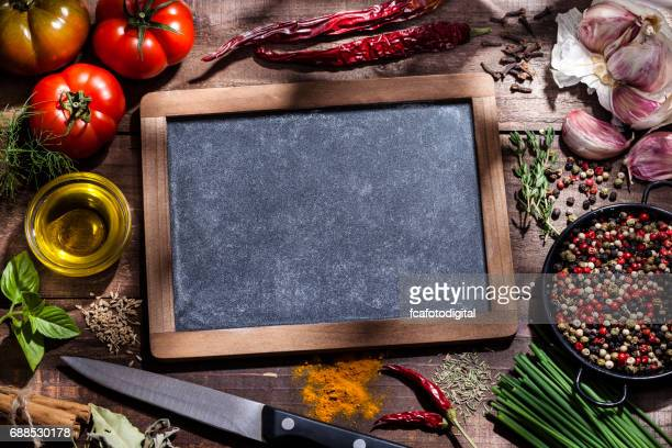 Fresh ingredients for cooking and seasoning