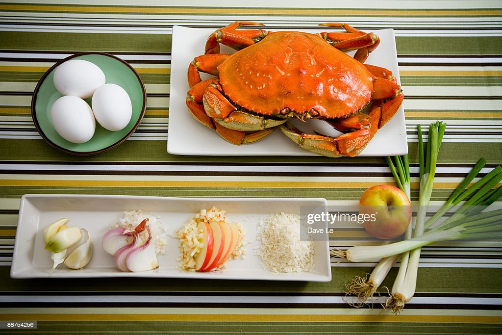 Fresh ingredients for crab cakes : Stock Photo