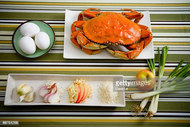 Fresh ingredients for crab cakes