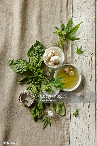 fresh ingredients with marijuana - cannabis oil stock photos and pictures