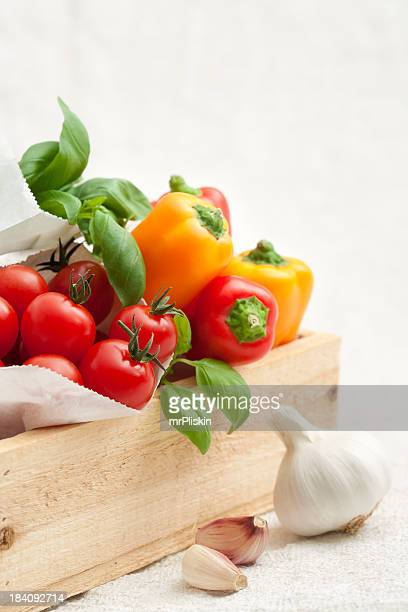 Fresh Italian ingredients on white background