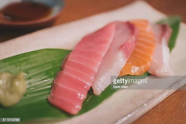 Fresh Japanese sashimi raw fish at home