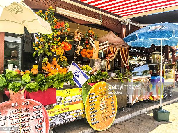 Fresh juices selling in old Yafo, Tel Aviv, Israel