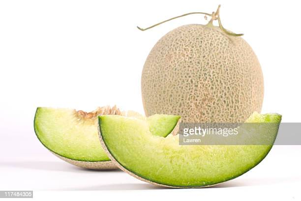 Fresh, juicy cantaloupe melon with slices