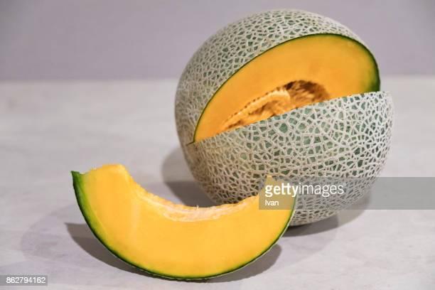 Fresh, juicy cantaloupe melon with slices