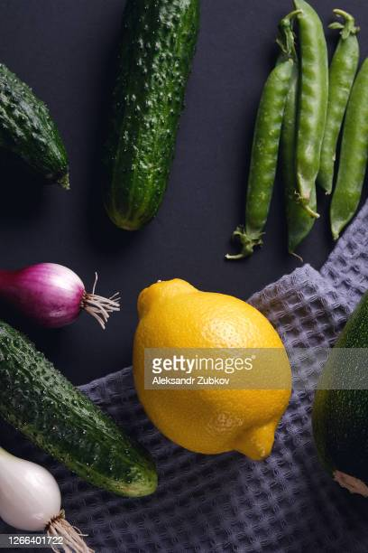 fresh juicy fruits and vegetables isolated on a black background or table. vegetarian, vegan, and raw food. - 西シベリア ストックフォトと画像