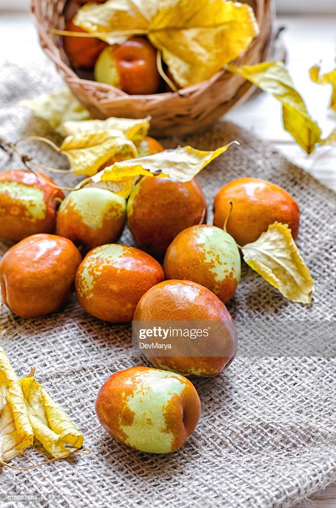 Fresh jujube or chinese date in a small basket : Stock Photo