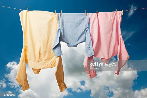 fresh laundry - clothesline stock pictures, royalty-free photos & images