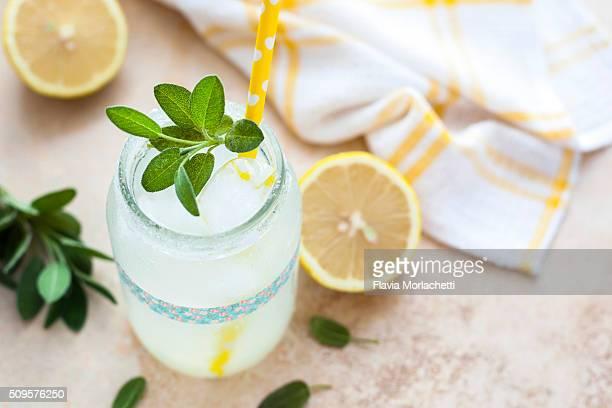 Fresh lemonade over kitchen table