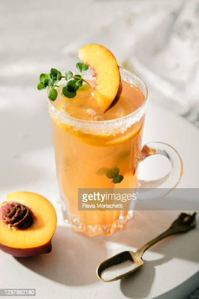 fresh lemonade with peach - latin america stock pictures, royalty-free photos & images