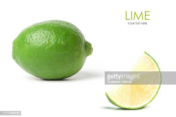 fresh lime on white background. template design - limette stock-fotos und bilder
