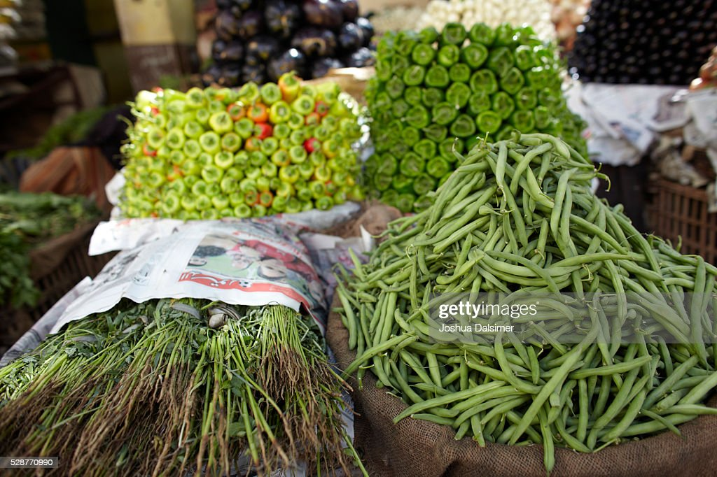 Fresh local vegetables at the Cairo Market : Stock Photo