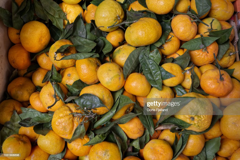 Fresh mandarines from above and many with green leaves : Foto de stock