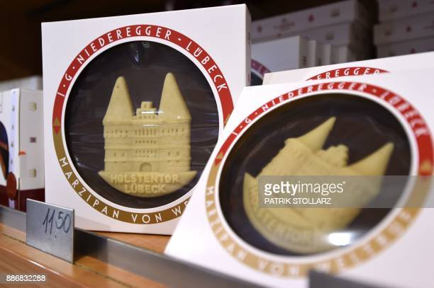 Fresh marzipan products are on display at a shop at the headquarters of the traditional confectionary maker JG Niederegger GmbH in Luebeck, Germany,...