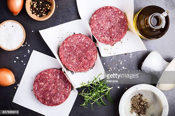 Fresh minced meat,  burger steak cutlets ready to prepare