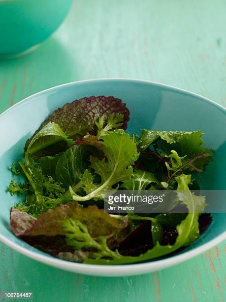 Fresh mixed greens salad in blue bowl