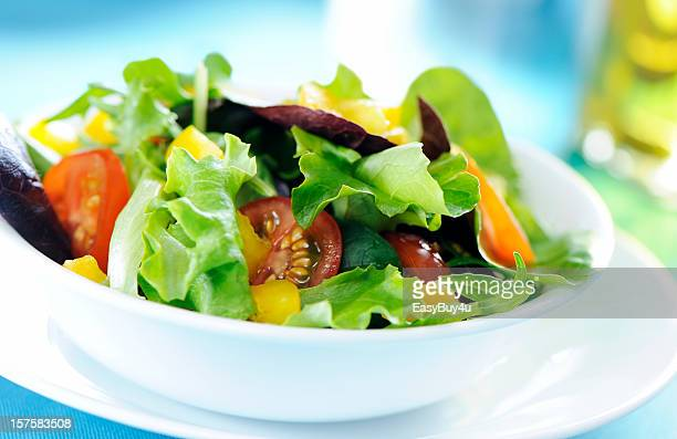 fresh mixed salad - side salad stock pictures, royalty-free photos & images