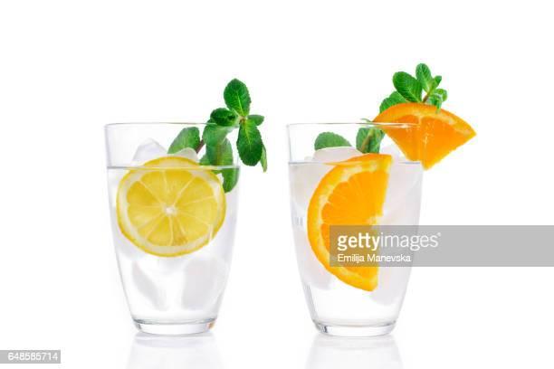 Fresh Mocktails on white background