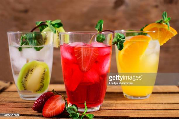 Fresh Mocktails with mint leaf on wooden background