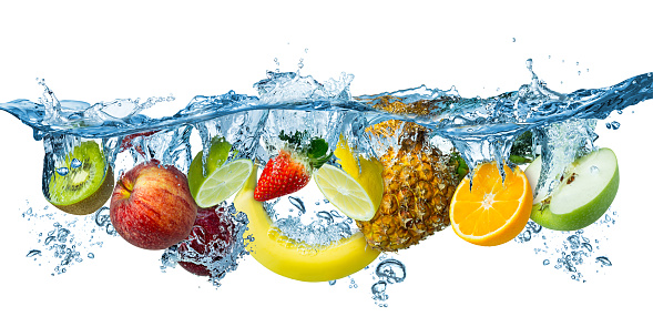 fresh multi fruits splashing into blue clear water splash healthy food diet freshness concept isolated white background 1140074030