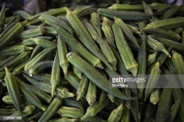 Fresh okra for sale outside a supermarket on Sonnenallee in Berlin, Germany, on Monday, Sept. 13, 2021. Refugees from Syria have changed the cultural...